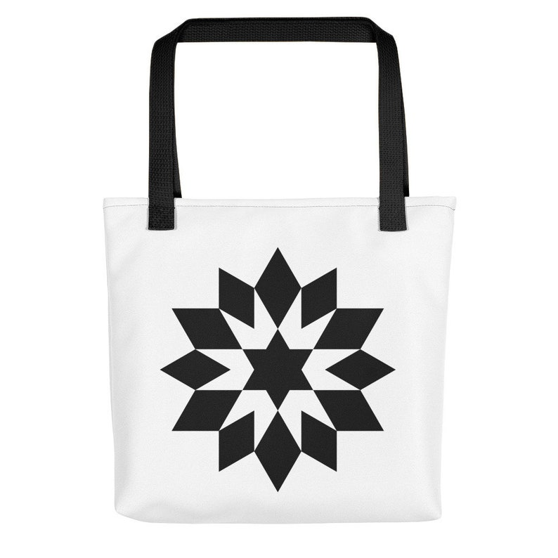 Flower Star of David polyester tote bag Jewish magen David everyday bag with geometric design Judaica gift for women