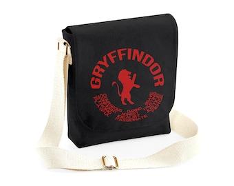 d4c029b32664 Harry Potter Gryffindor Small Messenger Bag - 100% Fair Trade Cotton Canvas  - Black