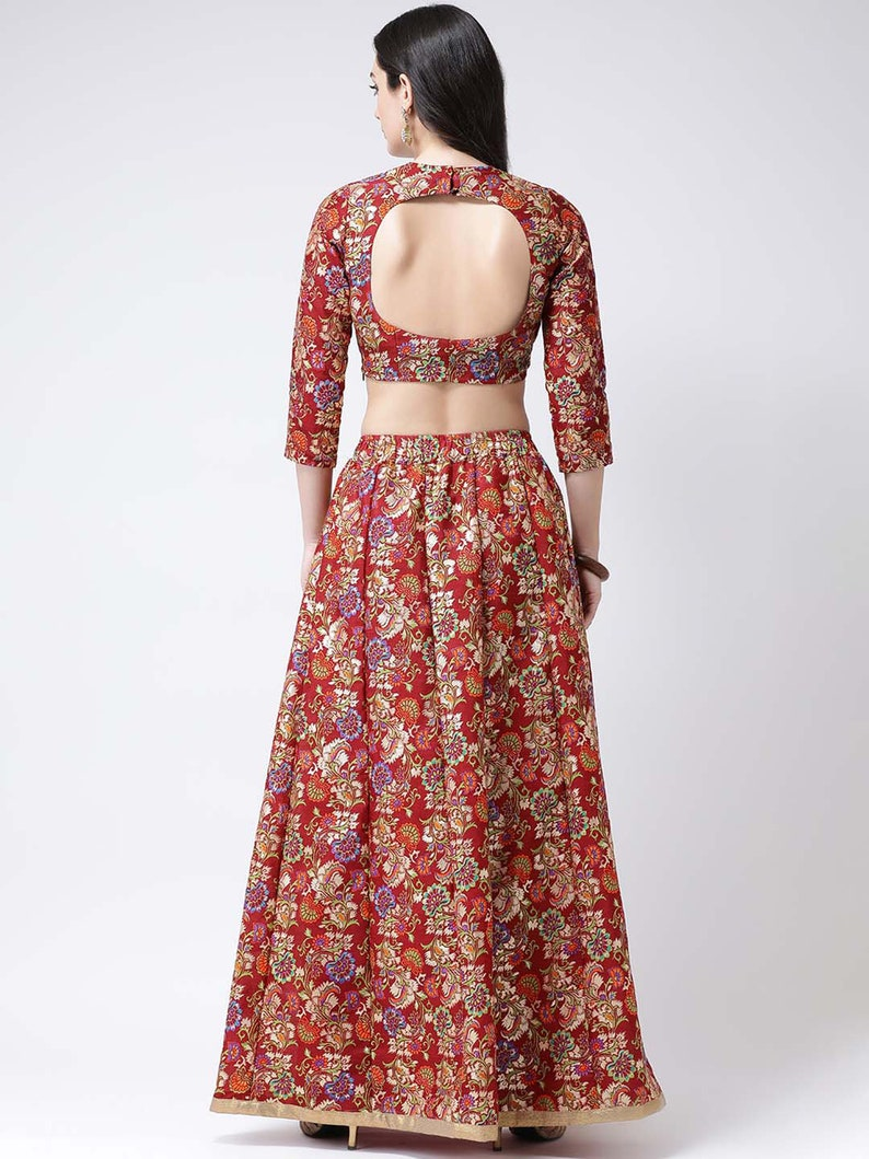 Indian Skirt and Blouses Party Wear Lehenga Casual Lehenga Indian designer Maroon /& Green Woven Ready to Wear Lehenga with Blouse