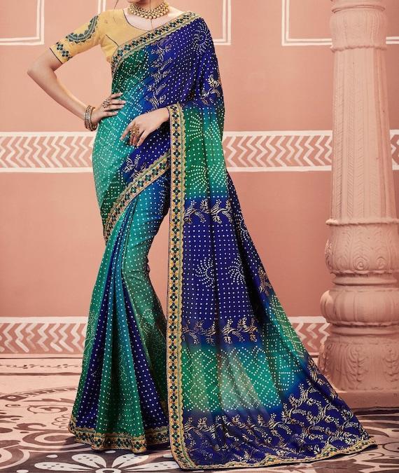 Raw Silk Saree Sari Blouse Designer Printed Sari Multi Color Women Indian Saree