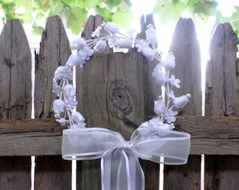 Flower Girl Headpiece - White