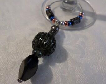 Handmade Beaded Wine Bottle or Glass Charm - Black, Silver, Copper, Blue