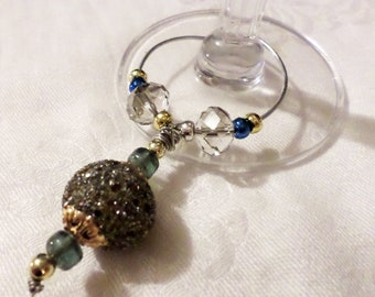 Handmade Beaded Wine Bottle or Glass Charm - clear, blue, green, gold and gray beading