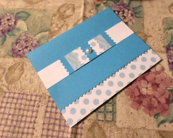 Handmade Greeting Card - White, Blue and Polka Dots - Blank A-2