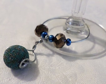 Handmade Beaded Wine Bottle or Glass Charm - black, blue, teal, and silver