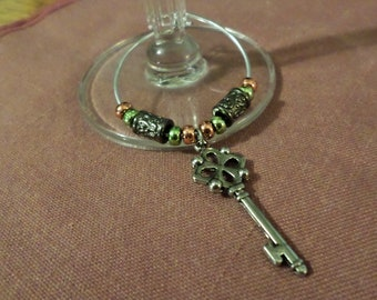 Handmade Beaded Wine Bottle or Glass Charm - green, copper and silver beading with skeleton key