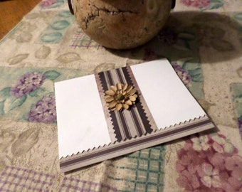 Handmade Greeting Card - White, Brown and Beige - Blank A-2 with Cream Envelope
