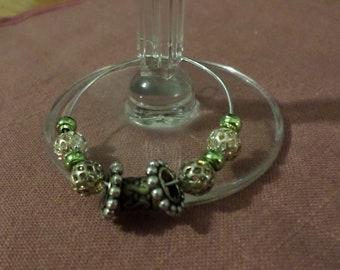 Handmade Beaded Wine Bottle or Glass Charm - green, silver and gold beading