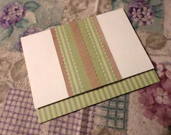 Handmade Greeting Card - Ivory, Tan and Green - Blank A-2