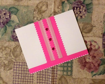 Handmade Greeting Card - White and Pink - Blank A-2