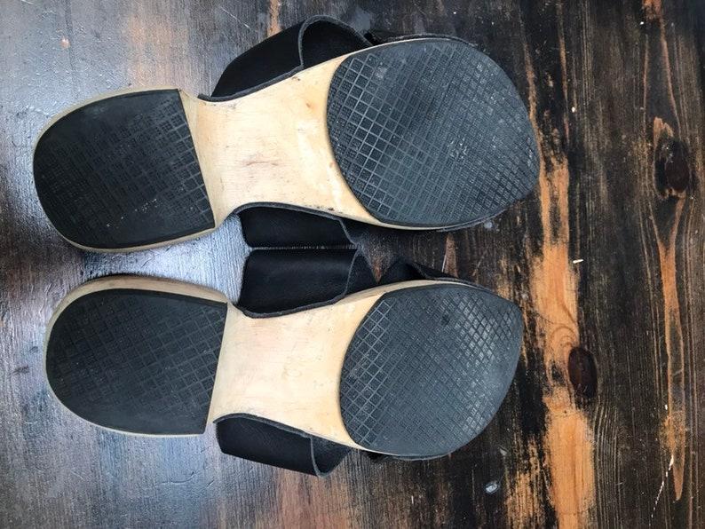 Vintage Leather Swedish Handmade Wooden Clog Sandals EU Size 40