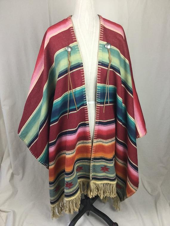 Vintage Serape Poncho Mexican Blanket