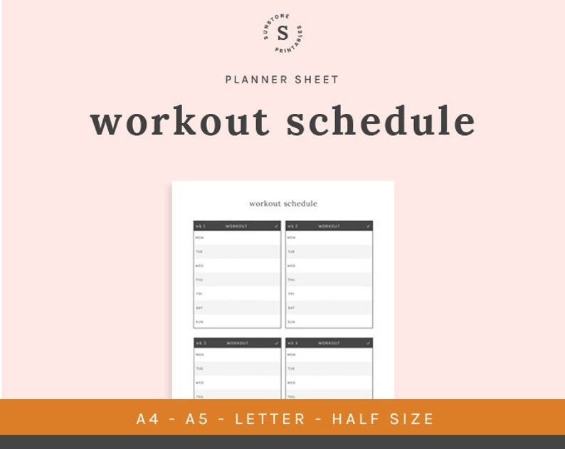 photograph about Printable Workout Schedule named Exercise routine Agenda, Printable Planner, A4, A5, Letter Dimensions, 50 percent Dimensions, Planner Incorporate, Magazine Add, Health Timetable, Electronic Down load
