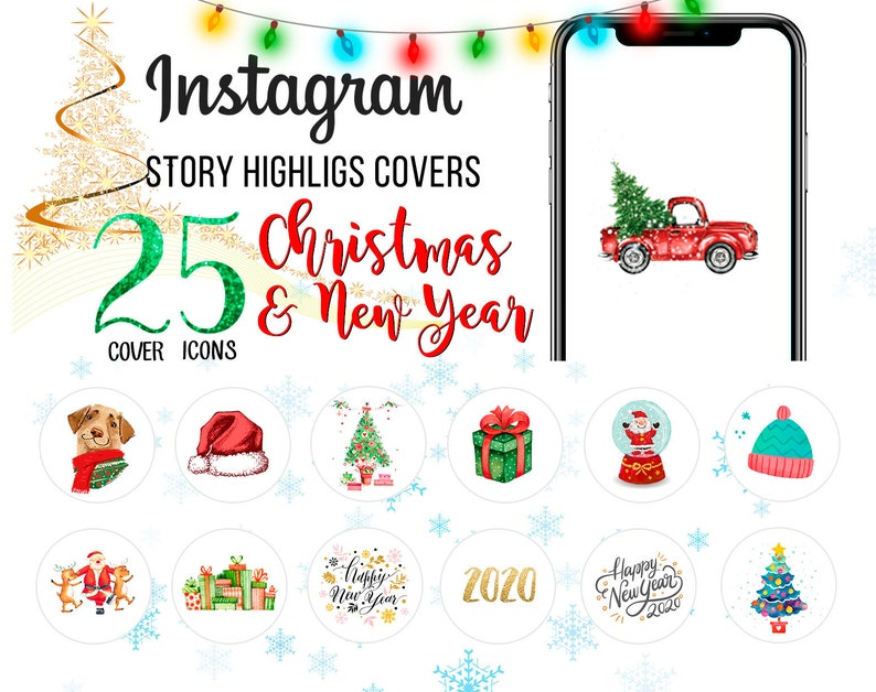 Christmas Icon For Instagram Highlights.Christmas Highlight Icons Instagram Stories New Year Cover Icons