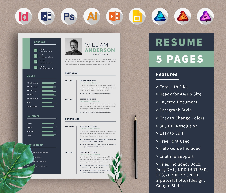 Resume Template Cv Design Portfolio Template Cover Letter Etsy