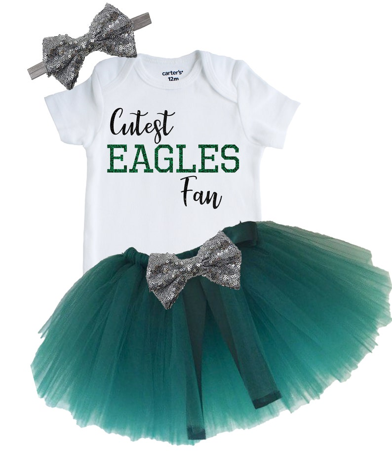 newest 300c5 cb50b Cute Philadelphia Eagles Tutu Outfit, Baby and Toddler Eagles Outfit,  Newborn Eagles Fan Outfit, Custom Vinyl Eagles Bodysuit, Eagles Baby