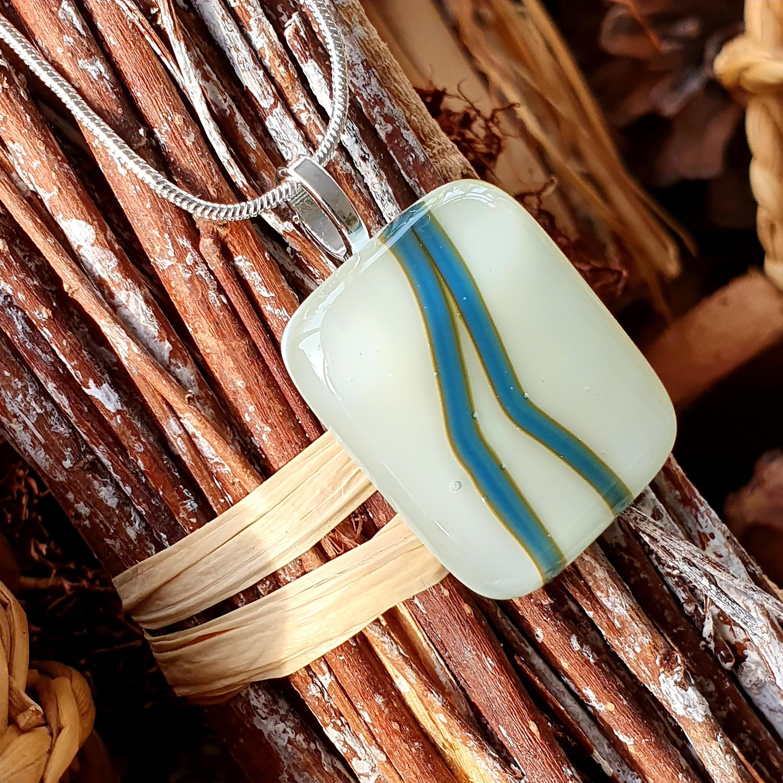Skinny Jeans Pendant, Reactions Glass Pendant, Blue on White Pendant