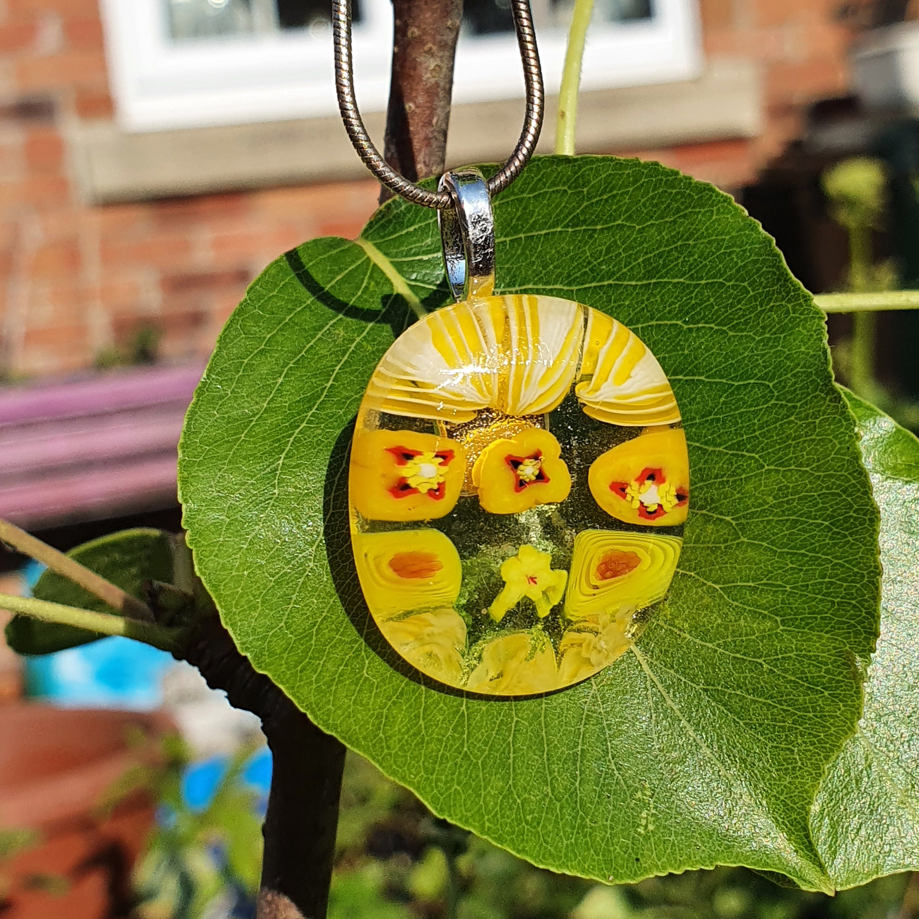 Yellow Floral Pendant, Citrus Yellow Pendant, Fused Glass Pendant, Bright Summer Necklace