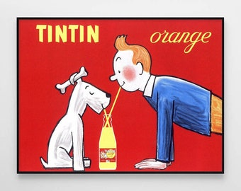 The Adventures Of TinTin and Snowy Printed Box Canvas Picture Multiple Sizes