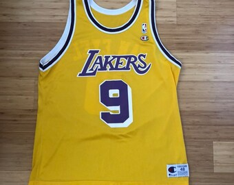 4cae6cf44 Rare Vintage Nick Van Exel Los Angeles Lakers #9 Champion Jersey (size 48)