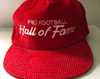 Rare Vintage Pro Football Hall Of Fame Sports Specialties Script Corduroy  Hat 094c895718f4