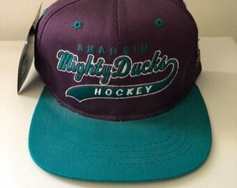 06db6c3b64b Rare Vintage Anaheim Mighty Ducks Starter Script Snapback Hat (size youth