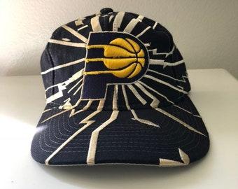 Rare Vintage Indiana Pacers Starter Collision Shockwave Snapback Hat 295700afb