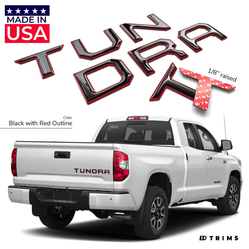 Pair TRD PRO Red /& Black Bed Inserts For 2014-2019 Toyota Tundra New Free Ship