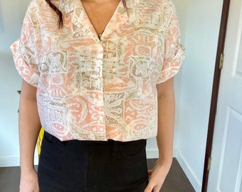 Vintage Hopsack Women Shirt Buttons Down Top with One Pocket Multicolored Summer Blouse Made in Germany Blouse Colorful Blouse