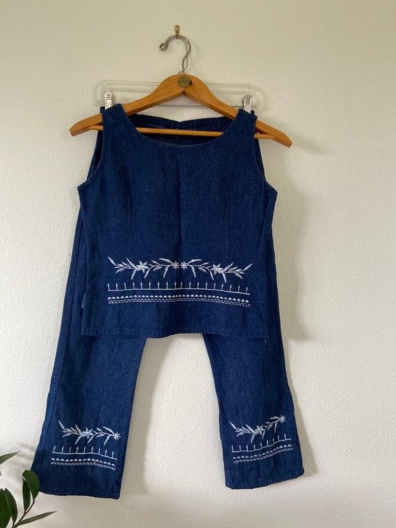 Vintage Embroidered Denim Pant & Crop Tank Set