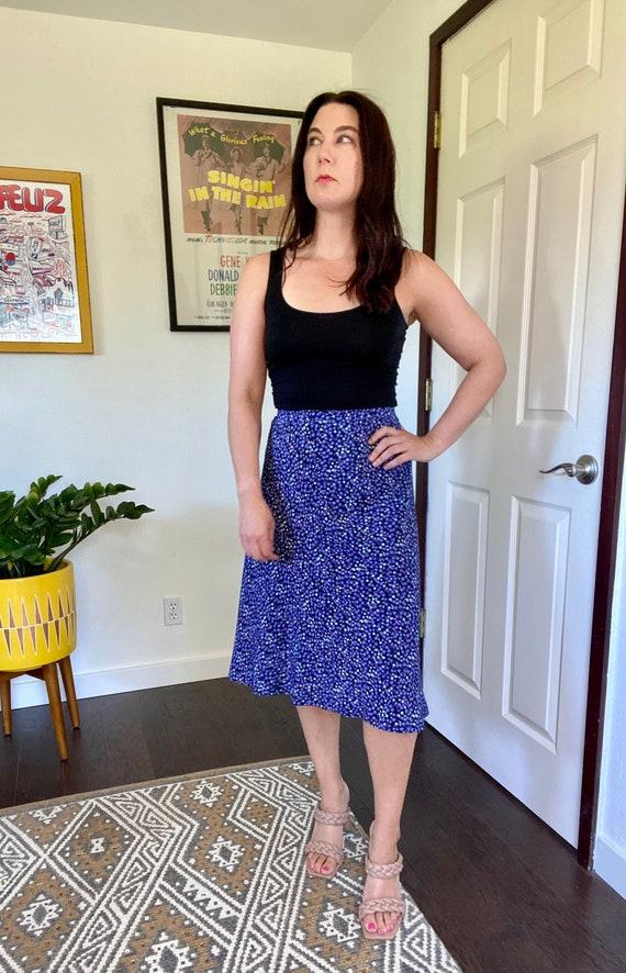 Vintage 1990s Purple Floral A-Line Skirt