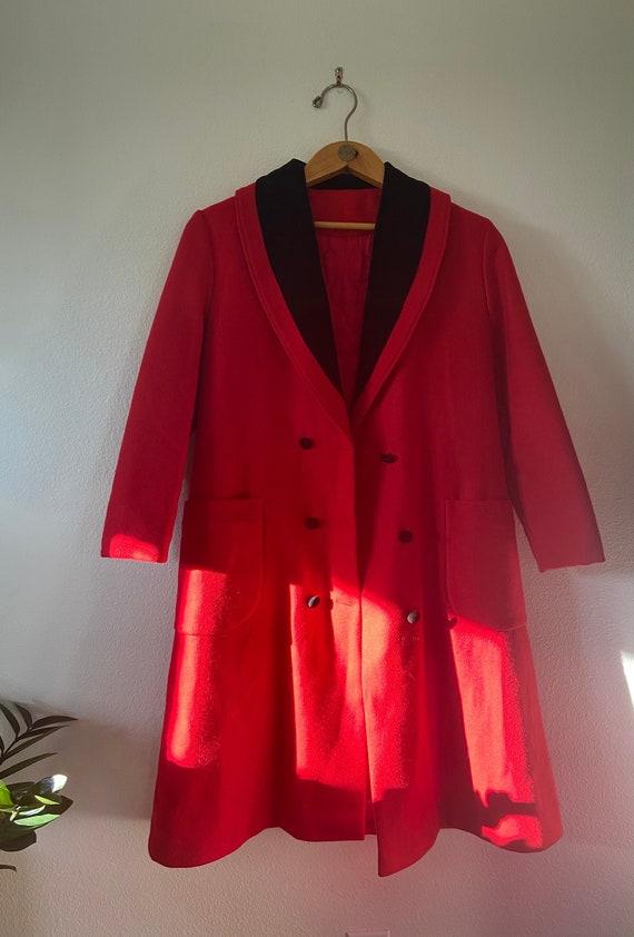 Vintage Red & Black Longline Overcoat - image 3