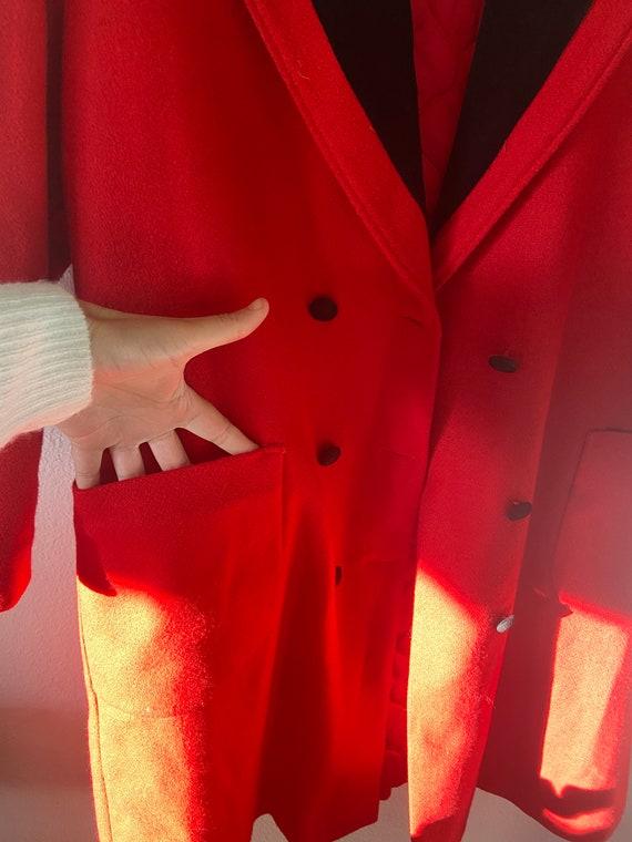 Vintage Red & Black Longline Overcoat - image 5