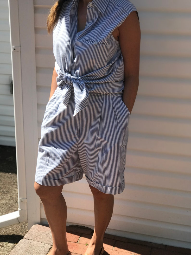 Vintage Rafaella White and Blue Stripe Short Set