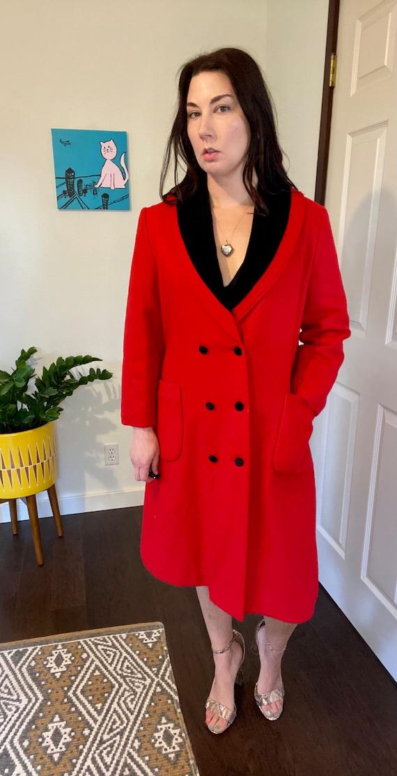 Vintage Red & Black Longline Overcoat