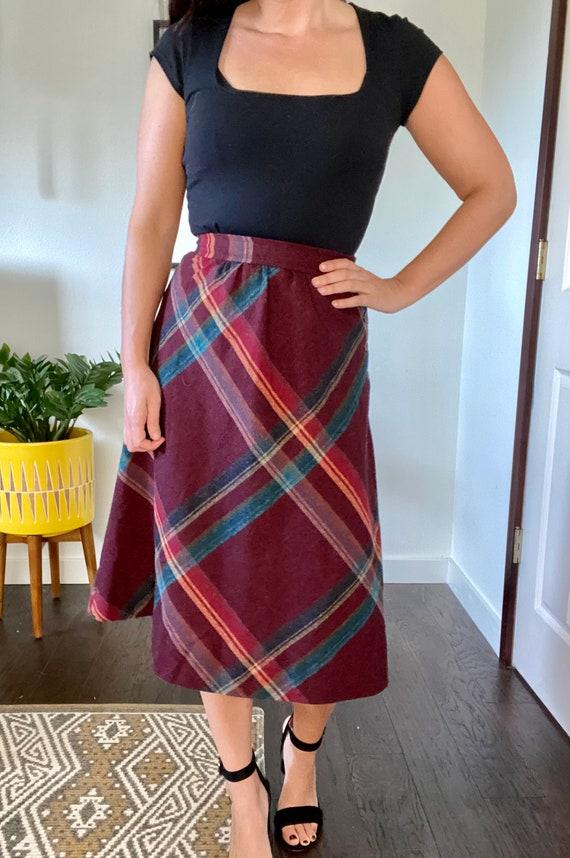 1970s Vintage Plaid Wool A-Line Skirt