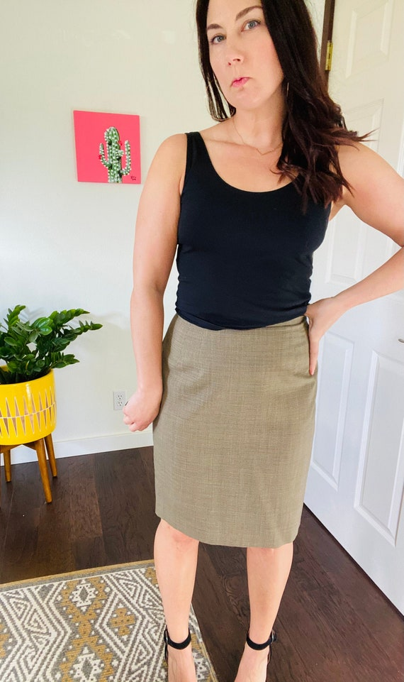 1990s Vintage Micro Houndstooth Pencil Skirt