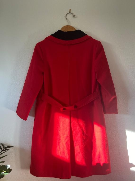Vintage Red & Black Longline Overcoat - image 6