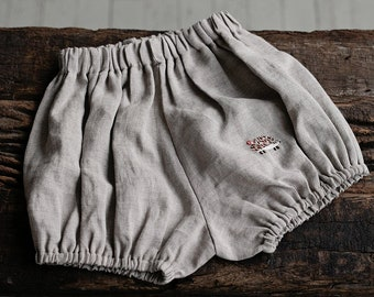 Linen Bloomers, 18 Different Colours, 7 Different Embroideries, Baby Bloomers, Linen Shorts, Linen Clothes for Kids, Linen Kids Clothing