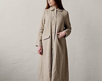 Classic Linen Coat, Natural Linen Coat, A Line Linen Coat, Linen Coat Women, Long Coat for Women, Autumn Linen Coat, Washed Linen Coat