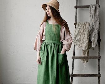 Linen Pinafore Dress, Elastic Waist Dress, Apple Green Linen Pinafore, Linen Dress, Victorian Apron,  Sleeveless Dress, Linen Apron Dress