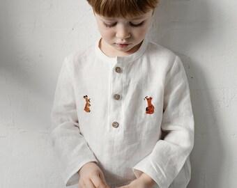 Long Sleeve Unisex Linen Shirt, 14 Different Colours, 8 Different Embroideries, Linen Shirt, Linen Shirt Boys, Linen Shirt Girls, Kids Shirt