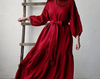 Linen Dress, Kimono Style Dress, Cherry Red Linen Dress, Linen Dress for Women, Plus Size Linen Dress, Loose Linen Dress
