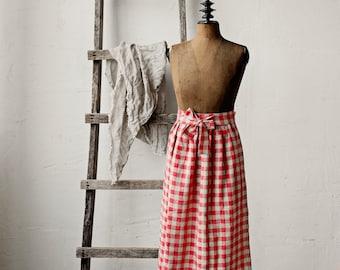 Plaid Linen Apron, Victorian Apron Skirt, Red Linen Skirt, Cooking Apron Skirt, Kitchen Linen, Apron for Women, Christmas Apron