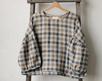 Linen Tunic, Plaid Linen Tunic, Plaid Linen Shirt, Linen Blouse, Oversized Linen Tunic, Kimono Style Tunic, Loose Tunic, Plus Size Shirt