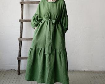 Linen Dress, Kimono Style Dress, Apple Green Linen Dress, Linen Dress for Women, Plus Size Linen Dress, Loose Linen Dress