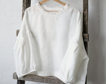 Linen Tunic, White Linen Tunic, Oversized Linen Shirt, Linen Blouse, Oversized Linen Tunic, Kimono Style Tunic, Loose fit Tunic
