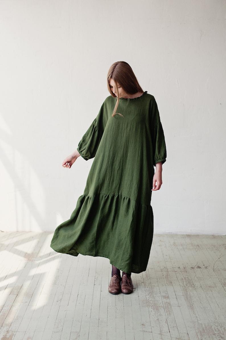 Oversized Linen Dress Kimono Style Dress Green Linen Dress image 0