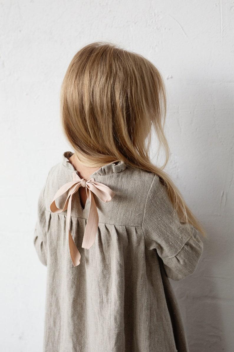 Baby Linen Dress Linen Clothes Girls Dress Girls Flower Girl Dress Winter Ruffle Linen Dress 6 Different Colours Baby Dress