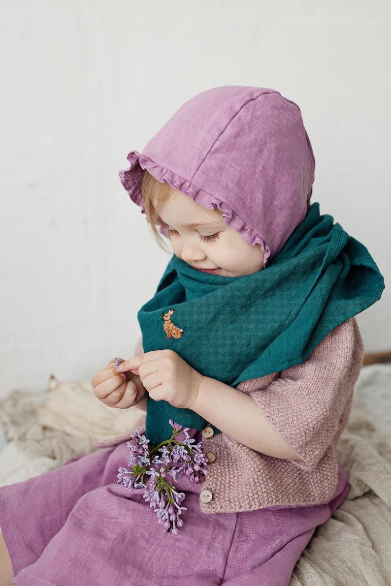 Green Linen Shawl Linen Head Scarf Linen Scarf for Kids image 0